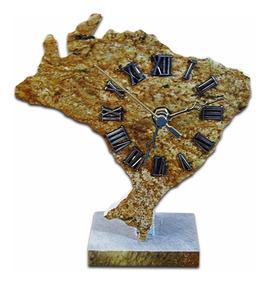 Relógio Mapa Do Brasil Em Pedra Sabão Exclusivo