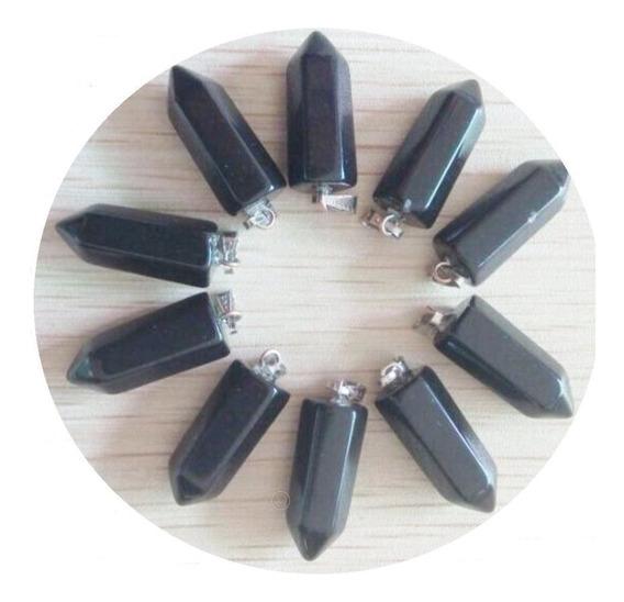 Cuarzo Ónix Negro Natural Pilar Dije Unisex Tamaño 22mmx9mm