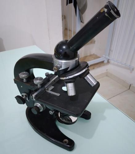 Microscópio Aus Jena Alemão Monocular Preto
