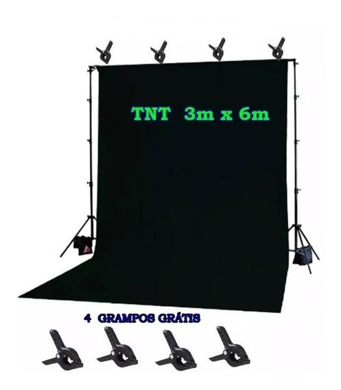 Fundo Infinito Tnt 3m X 6m Preto + 4 Grampos