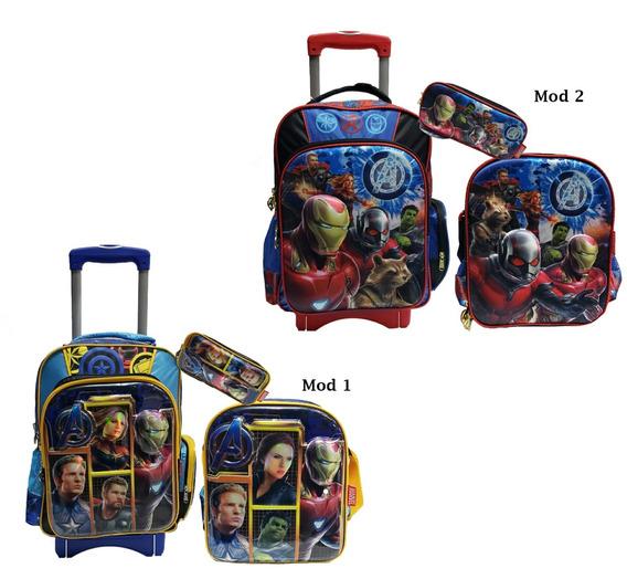 Kit Escolar Ruz Avengers 3d Mochila Con Ruedas+lapicera 3pzs
