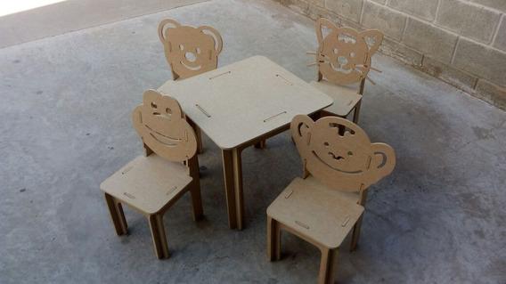 Kit Provençal Mesa 4 Cadeiras Animais Festa Mdf Decoração
