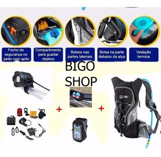 Farol P/bike Bat/ 6t +mochila Hidratação+bolsa Celular+veloc