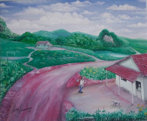 J. A. Belas Artes! Quadro De Paisagem (pintura A Óleo)