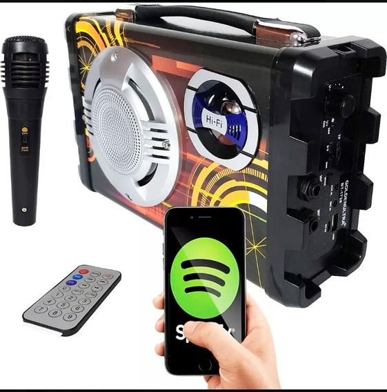 Caixa Som Amplificada Bluetooth Microfone Rádio Fm Usb