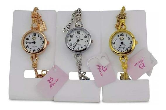 Kit Três Relógios Femininos Tipo Pulseira