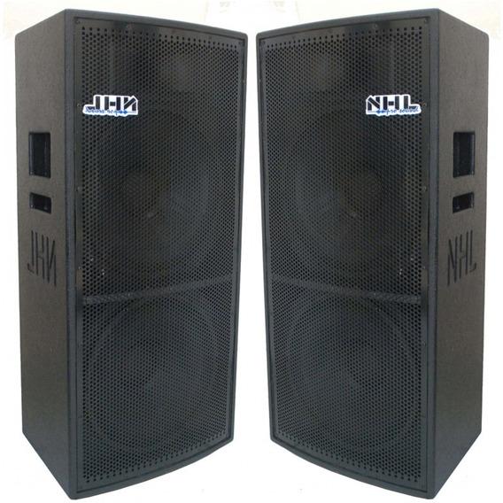 Caixa Ativa + Passiva 2x15 +ti 1600w Nhl Pro Sound Full Range 2 Woofers 15 Polegadas + Driver Titanio Amplificada