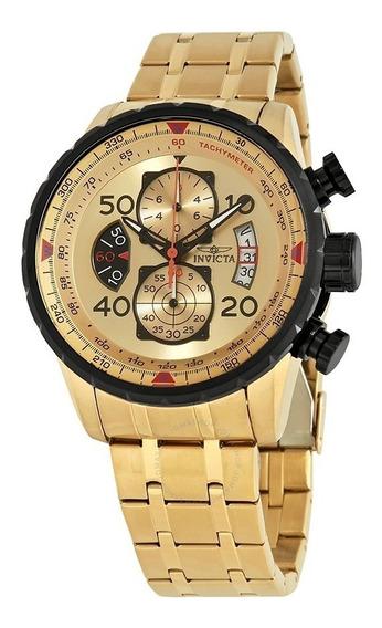 Relógio Invicta Aviator 17205 Banhado Ouro / Original / 100m