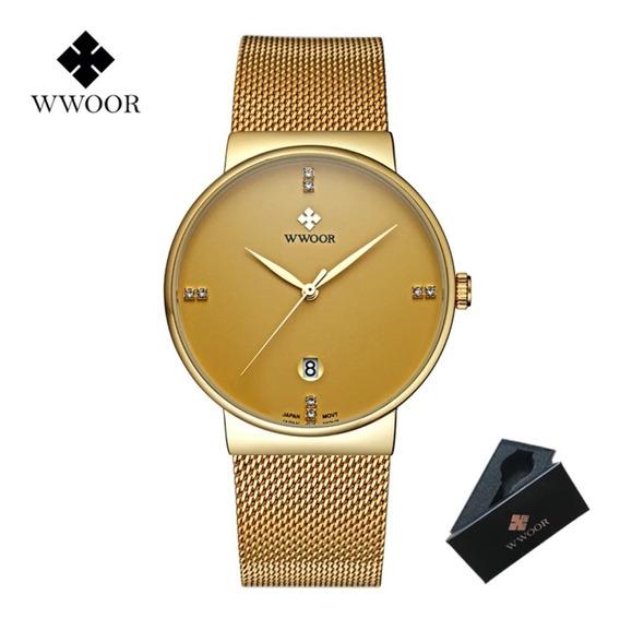 Relógio Masculino Social Luxo Wwoor 8018 Pulseira Aço Inox