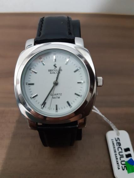 Relógio Unissex Analógico Seculus Com Pulseira Couro Original Com Certificado