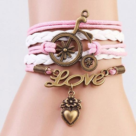 Pulseira Bracelete Couro Rosa Branco - Love - Feminina - 020