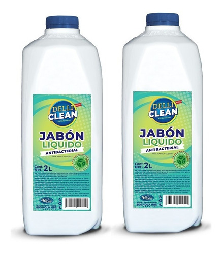 Jabón Líquido Antibacterial Delli Clean 2 Litros | 2 Piezas