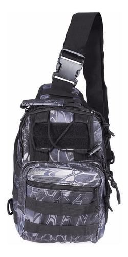 --mochila Tactica Militar Acampar Viajero Color Negro Gris