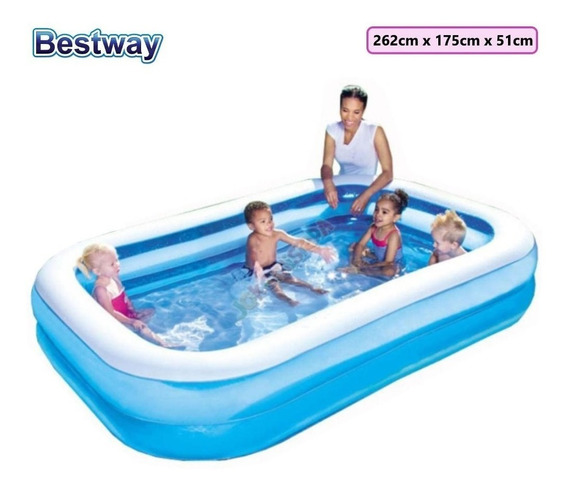 Piscina Inflable Mediana 2.62m X1.75m X 51cm Ecology 60$