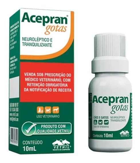 Acepran Gotas (acepromazina) 10ml Neuroléptico E Tranquiliza