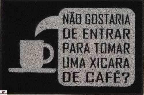 Tapete Capacho De Porta Personalizado Chaves Xícara De Café
