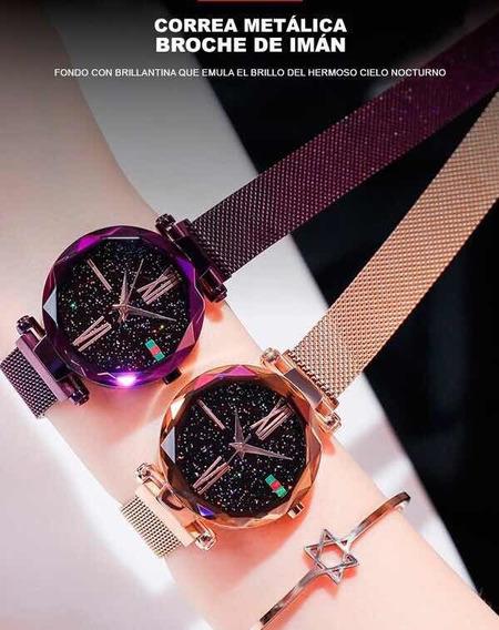Hermoso Reloj Corte Diamante Correa Imantada Oferta Precio