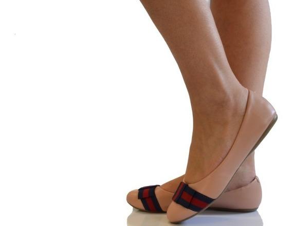 Sapato Sapatilha Rosa Com Detalhe Em Gorgurão Listras R 36