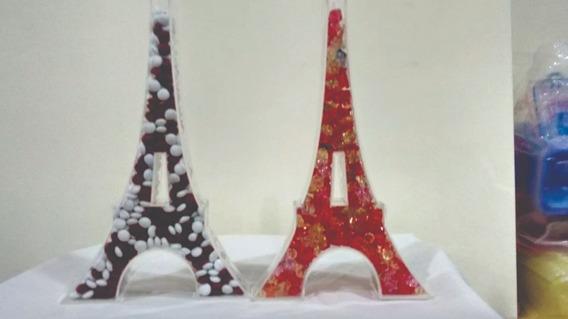 3 Torre Eiffel 30 Cm Alto, En Acrílico: Decoración P/fiestas