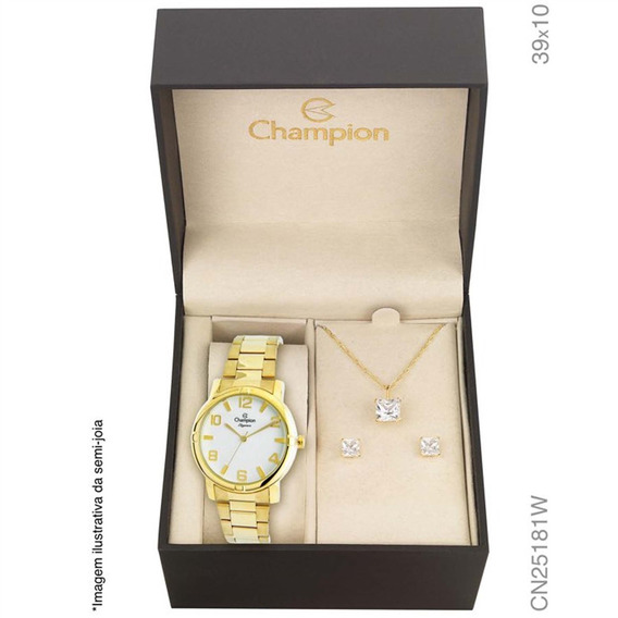 Relógio Champion Analógio Cn25181w Feminino + Semijóia