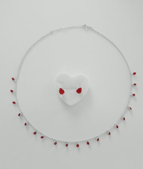 Colar Feminino Em Prata Choker Com Pedra Vermelha Com Brinde