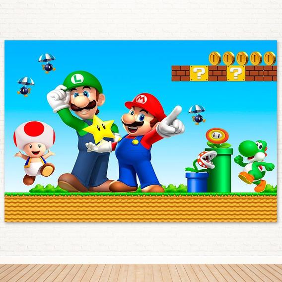 Painel De Festa Infantil Mario Bros Em Tecido - 2,2x1,5m
