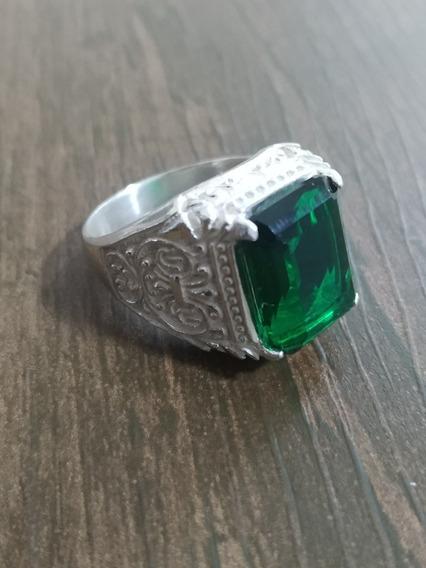 Anel De Prata Dedeira Com Pedra Verde + Brindes