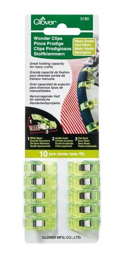 Clips Prodigiosos Verdes Tamaño Estándar 10 Pzas Clover 3180