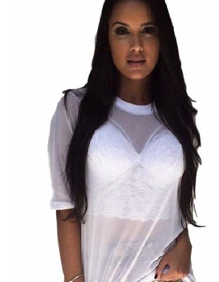 Kit 2 Blusa Camisa Tule Transparente