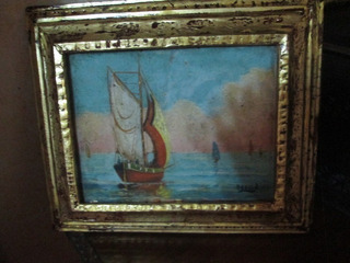 Pintura Oleo En Cartón Antiguo Cuadro Andrés Orpina Marina