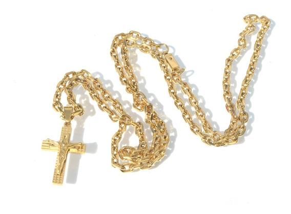 Corrente Cordao 70cm 4mm + Pingente Crucifixo Jesus
