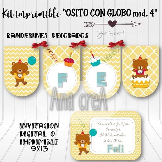 Kit Personalizado Osito Con Globo - Mod. 4 - Imprimible Oso