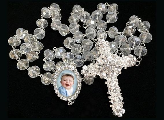 Terço Cristal Prata Personalizado Com Foto Batismo Casamento