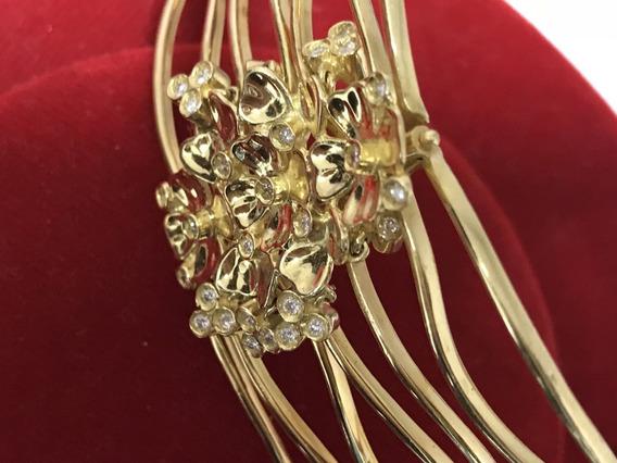 Bracelete Ouro 18k C/diamantes, Peso: 68,7 Gramas