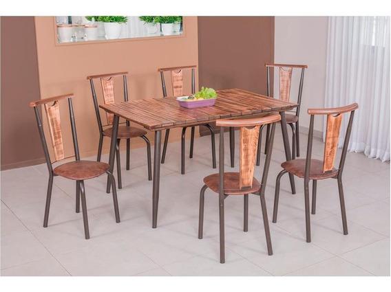 Mesa De Jantar Com 6 Cadeiras, Tampo De Madeira - Modecor Calcário