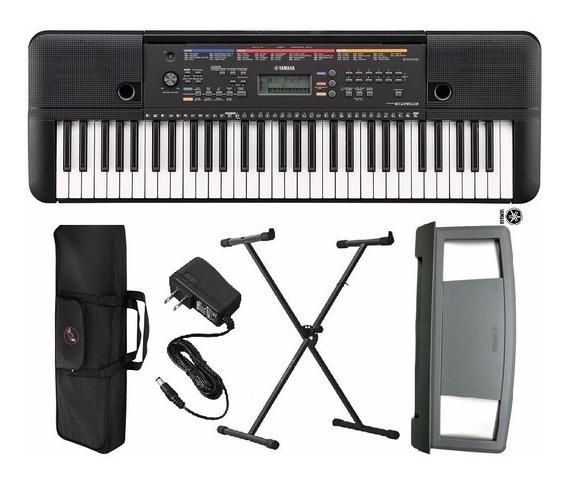 Kit Teclado Musical Psr 263 Yamaha + Fonte+ Suporte X + Capa