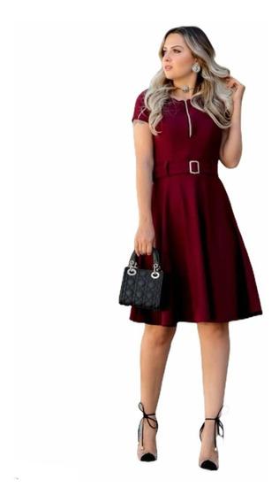 Vestido Feminino Evangélico Midi Gode Social Rodado Barato
