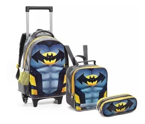 Kit Mochila Infantil Super Bat + Lancheira + Estojo