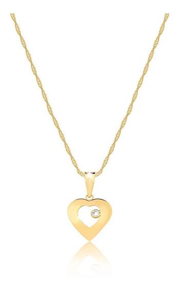 Corrente Cordão Ouro 18k 750 50cm + Pingente Coração