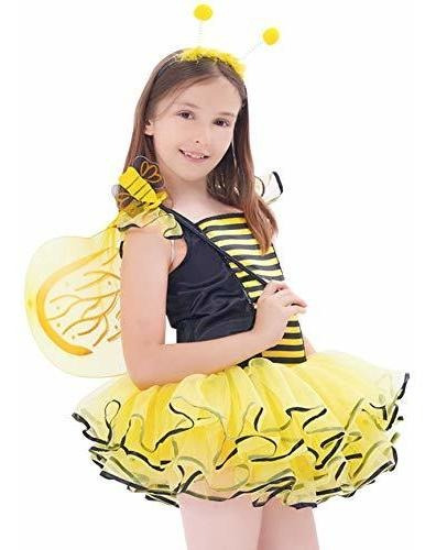 Ikali Bumble Bee Costume Para Niñas, Niños Honeybee Fancy Dr
