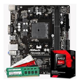 Kit Gamer A6-7480 3.5 Ghz + Pl.mãe Fm2 C/nfe + 4gb Mem Ddr3