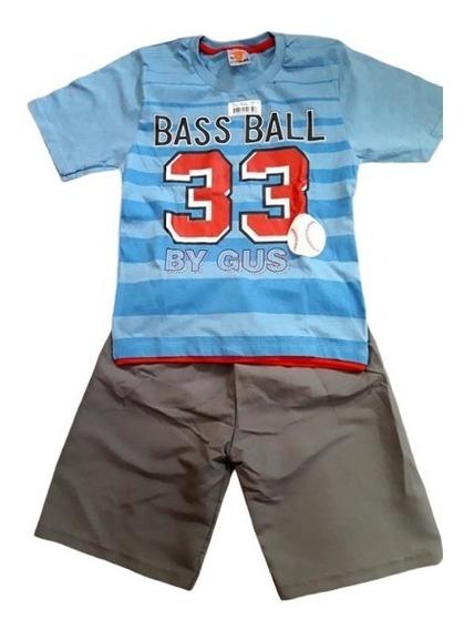 Conjunto Infantil Fakini Tam. 6 Anos Menino Bermuda Camiseta