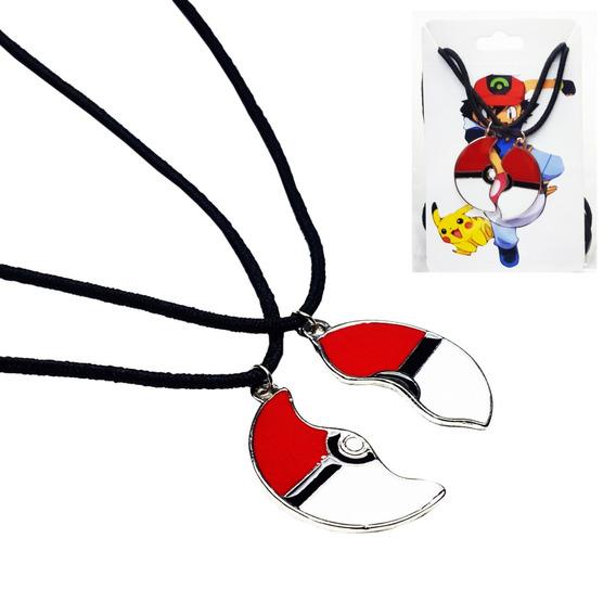 2 Colar Pokemon Pokebola Casal Bff Best Friend