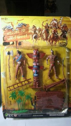 Blister De Soldaditos Indios Articulados Toten Y Choza 10 Cm