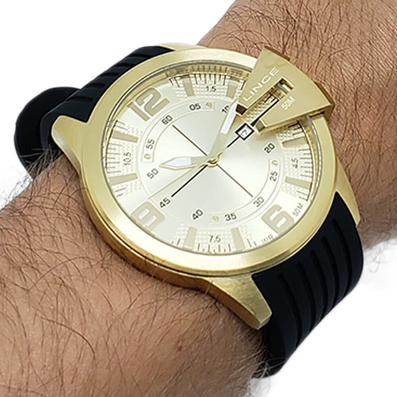 Relógio Masculino Lince Dourado Mrp4404s Nota Fiscal
