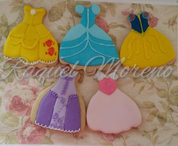 * Vestidos Princesas* 25 Galletas Decoradas De Mantequilla
