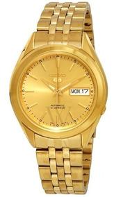Relógio Seiko Série 5 Automatico Dial Ouro-snkl28