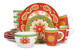 Vajilla Redonda Plato Ceramica 16pz Moderna Crown Baccara