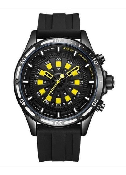 Relógio Masculino Weide Analógico Wh7308 - Preto E Amarelo