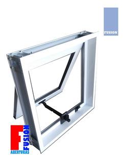 Ventiluz Aluminio 60x40 C/vidrio 4mm Con Brazo De Empuje